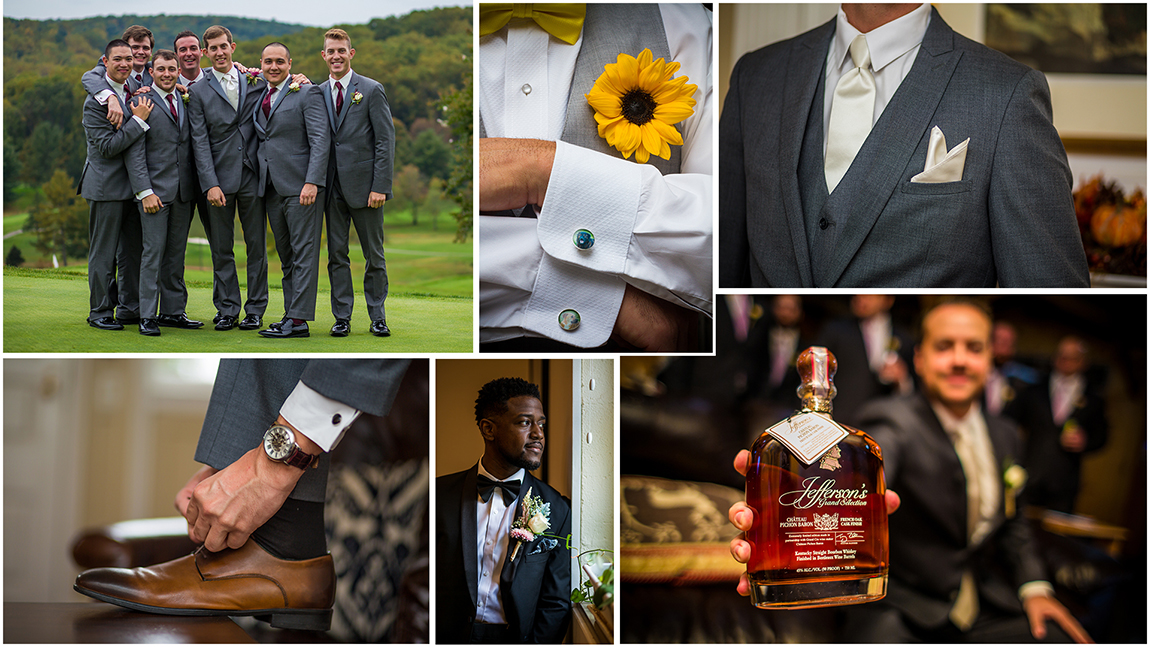 Maryland Wedding Photographers. Portraits of grooms and groomsmen. Detail shots.